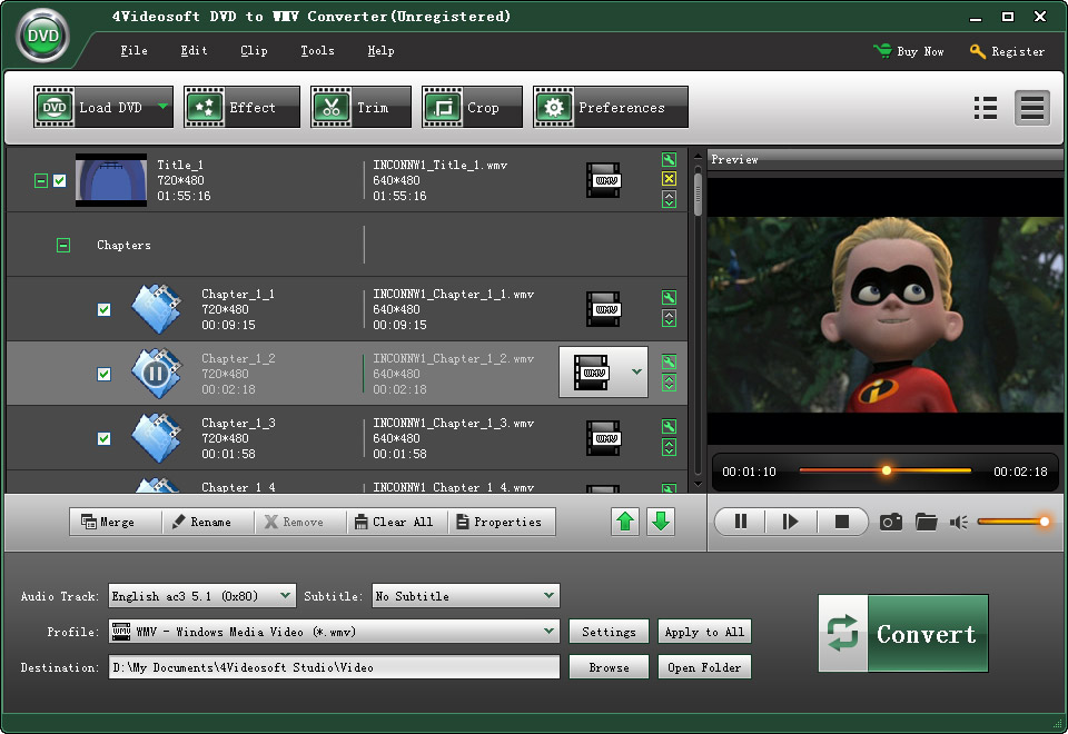Click to view 4Videosoft DVD to WMV Converter 3.1.08 screenshot