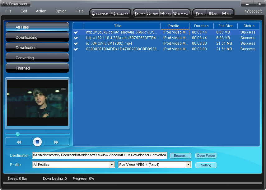 4Videosoft FLV Downloader screenshot