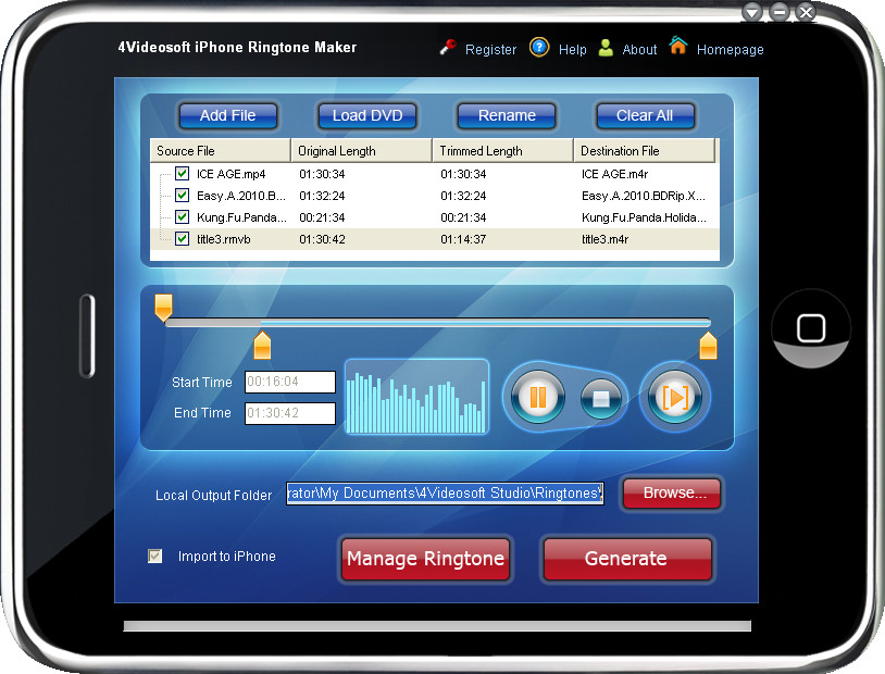 4Videosoft iPhone Ringtone Maker 4.1.02