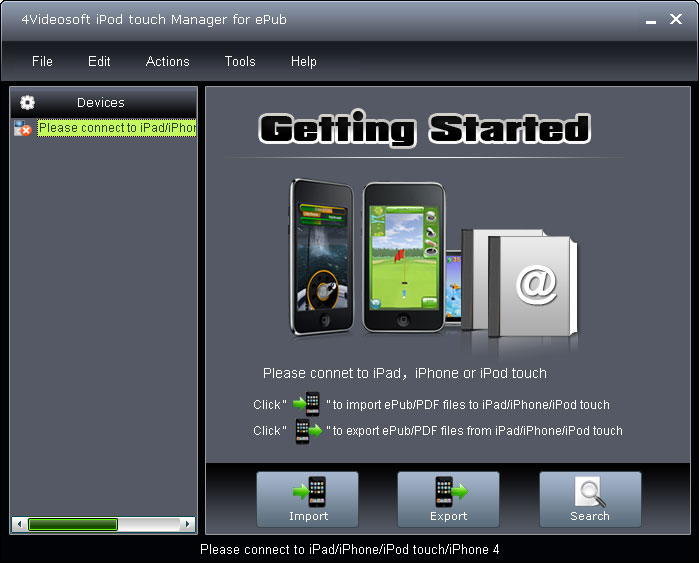 Click to view 4Videosoft iPod touch Manager for ePub screenshots