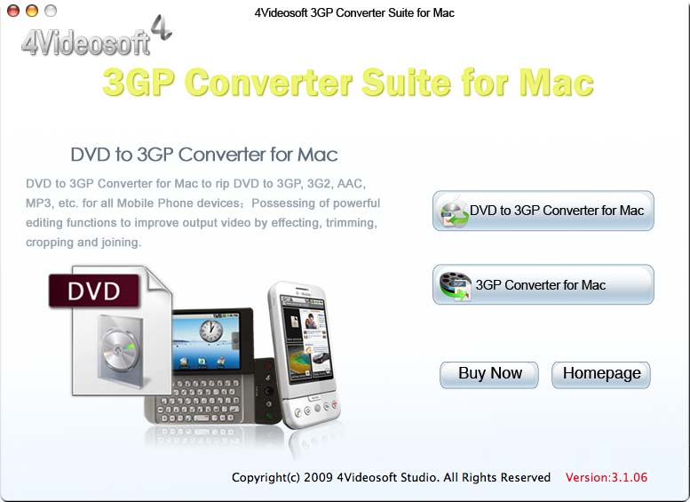 4Videosoft 3GP Converter Suite for Mac screenshot