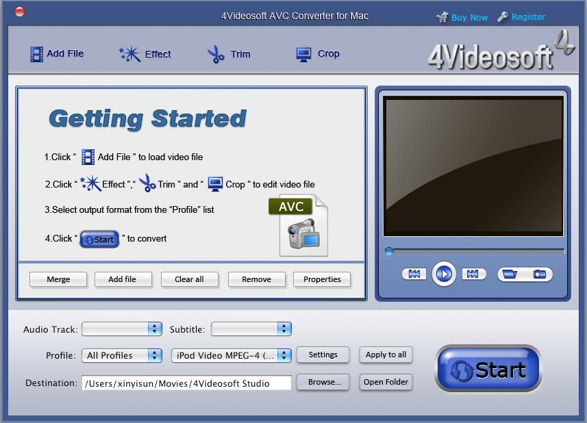 4Videosoft AVC Converter for Mac screenshot