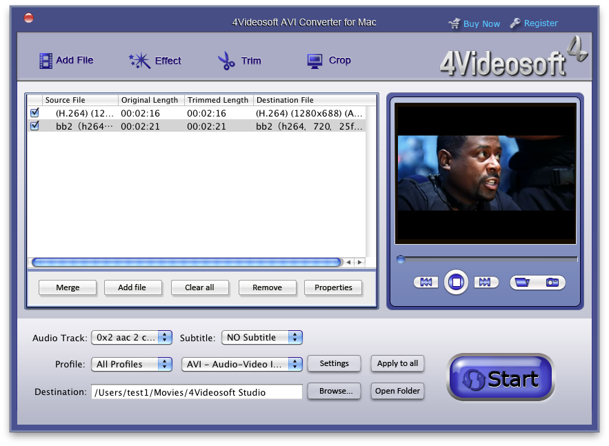 4Videosoft AVI Converter for Mac Screen shot
