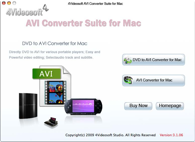 4Videosoft AVI Converter Suite for Mac 3.2.06