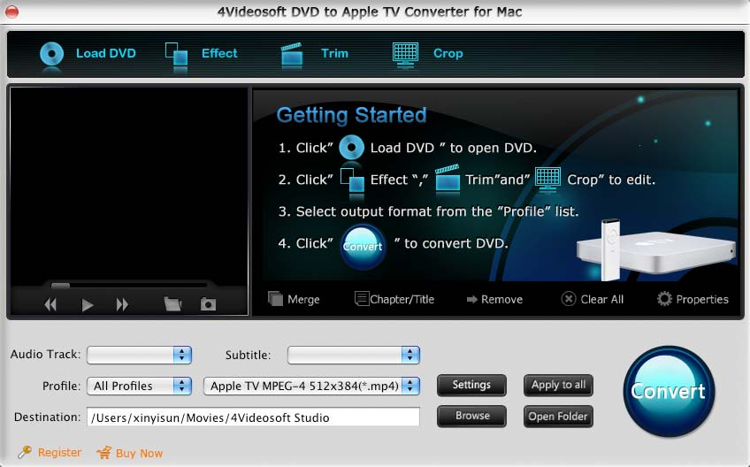 4Videosoft Mac DVD to Apple TV Converter screenshot