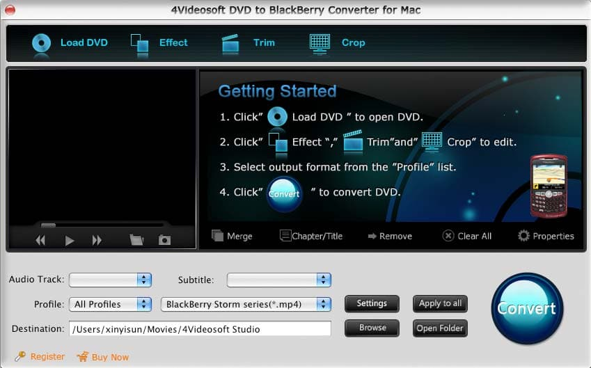 DVD to BlackBerry Converter for Mac screenshot