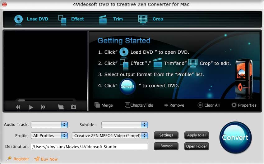 Screenshot of 4Videosoft Mac DVD CreativeZen Converter