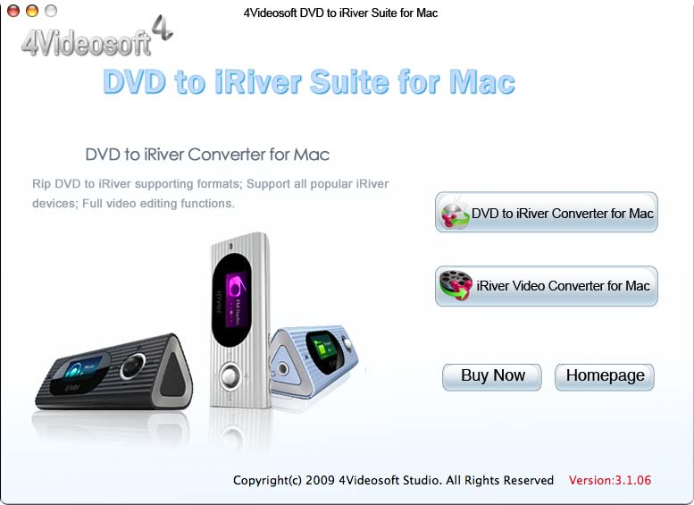 4Videosoft DVD to iRiver Suite for Mac 3.1.06