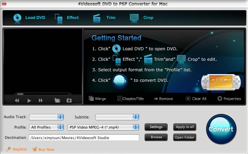 Screenshot of 4Videosoft DVD to PSP Converter for Mac 3.1.06