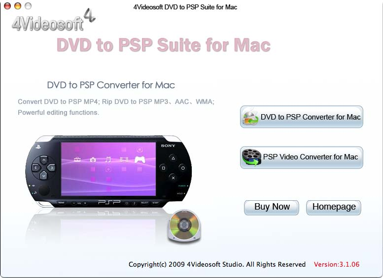 4Videosoft DVD to PSP Suite for Mac 3.1.06