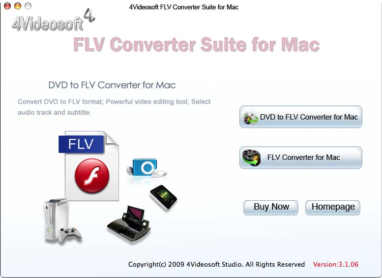 4Videosoft FLV Converter Suite for Mac 3.2.06