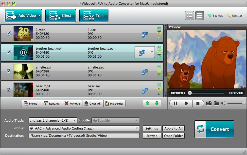 4Videosoft Mac FLV to Audio Converter Screen shot