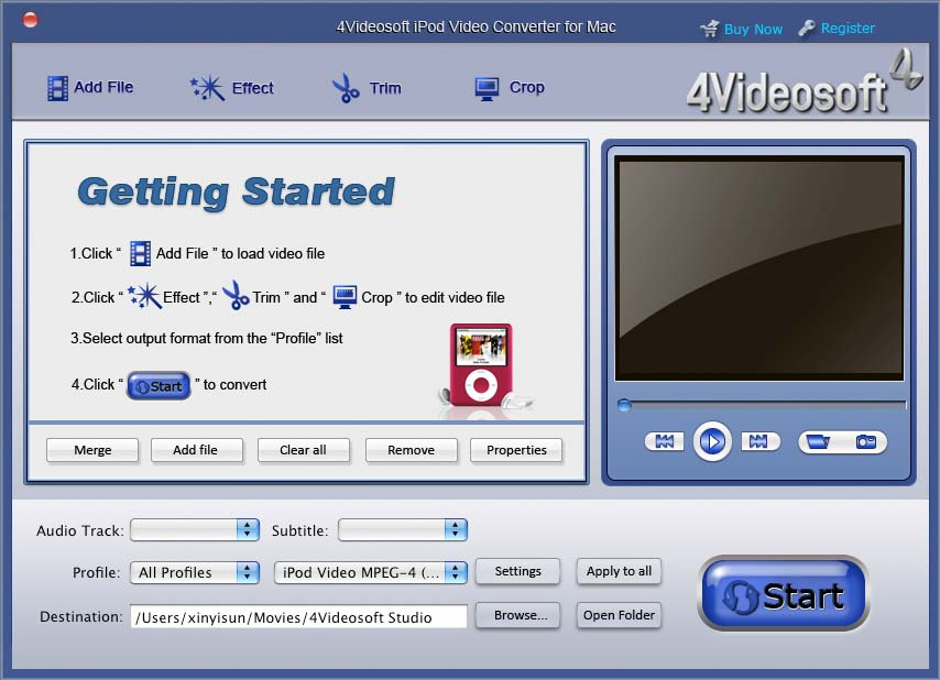 4Videosoft iPod Video Converter for Mac Screen shot