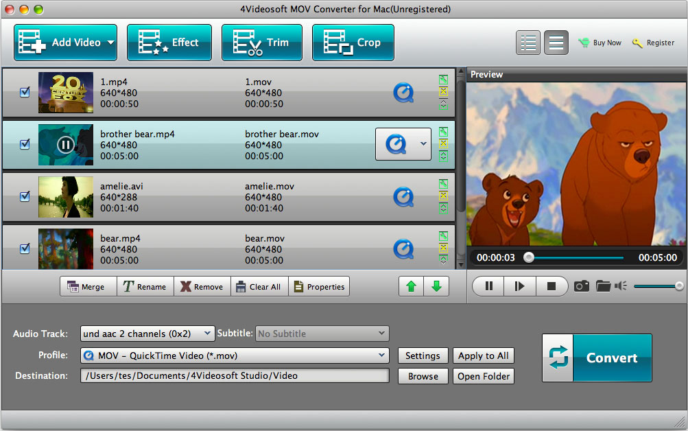 Click to view 4Videosoft MOV Converter for Mac screenshots