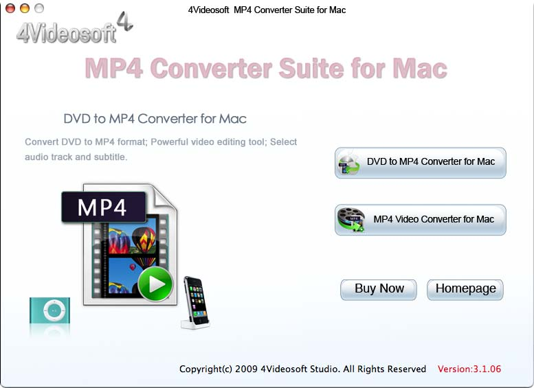 Screenshot of 4Videosoft MP4 Converter Suite for Mac