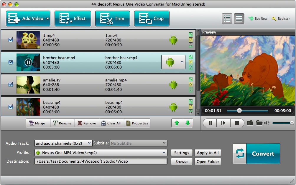 Best video converter for Nexus One on Mac.