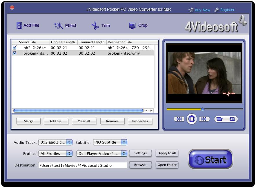 Screenshot of 4Videosoft Mac Pocket PC Video Converter