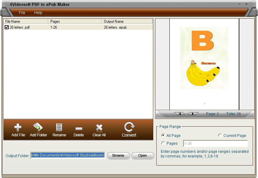 Screenshot of 4Videosoft PDF to ePub Maker