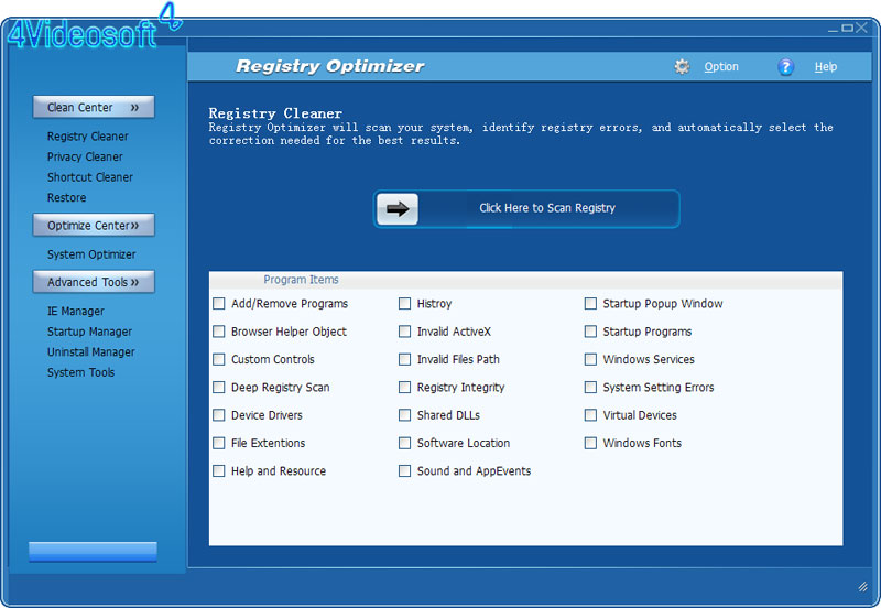 4Videosoft Registry Optimizer