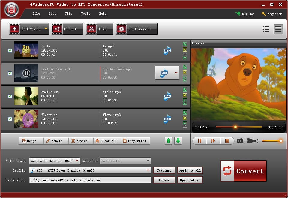 Click to view 4Videosoft Video to MP3 Converter screenshots