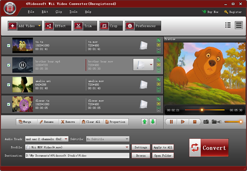 Click to view 4Videosoft Wii Video Converter screenshots