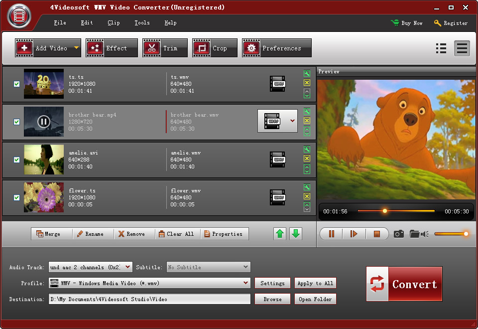 Click to view 4Videosoft WMV Video Converter screenshots