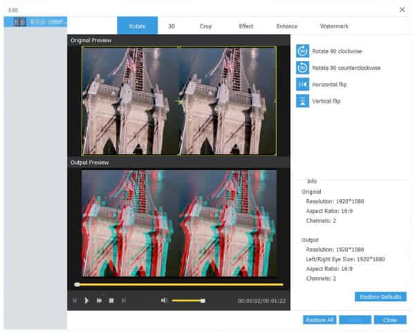Éditer le fichier vidéo 3D